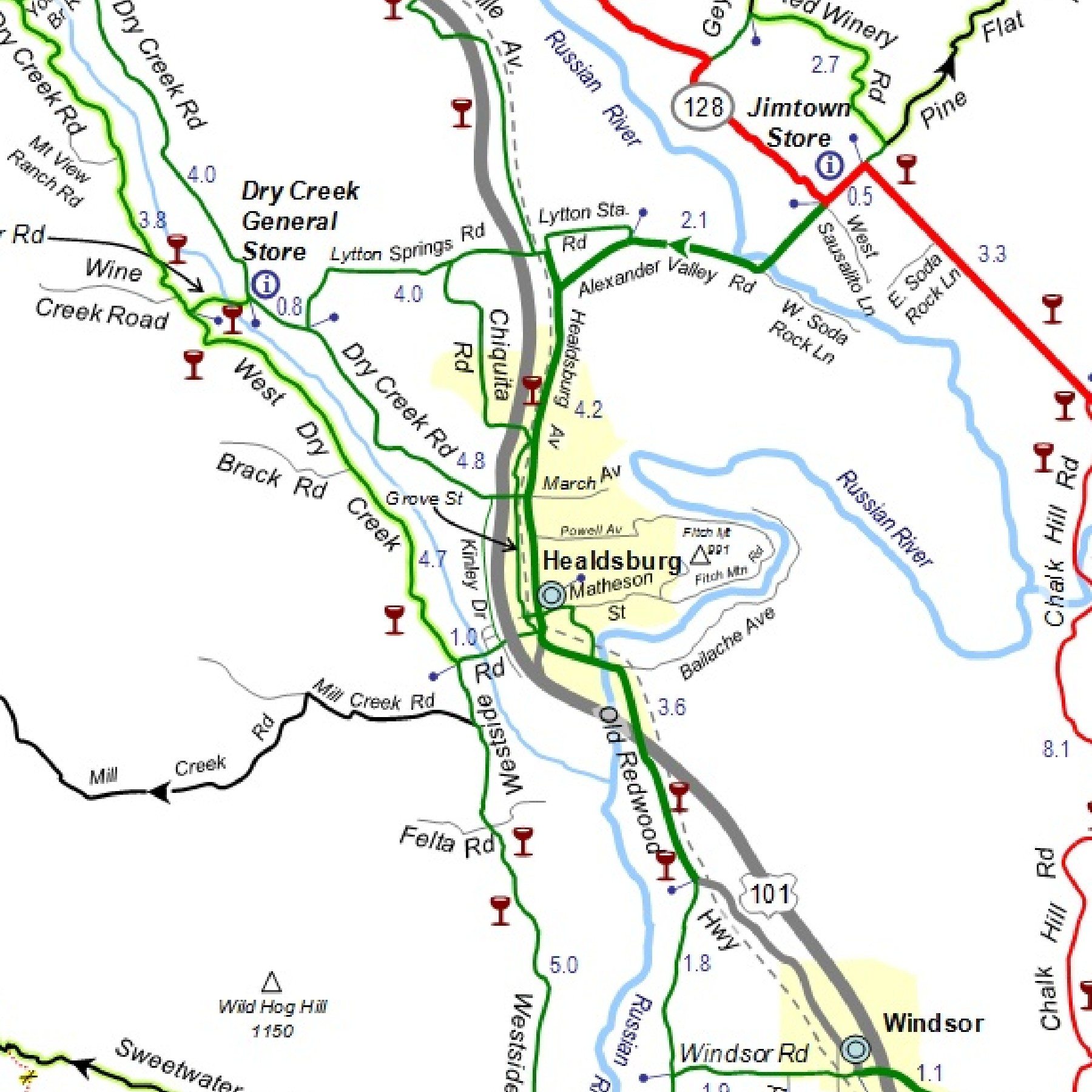 Sonoma Cycling Map