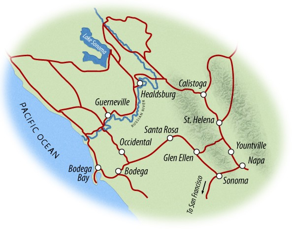 Napa and Sonoma Bike Map