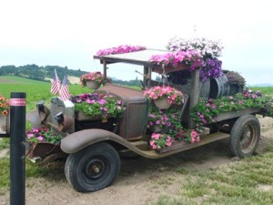 Flower Covered Car — McMinnville, Oregon