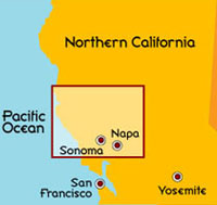 Northern California Napa Valley and Sonoma Valley Map