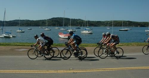 Cycling along Tomales Bay