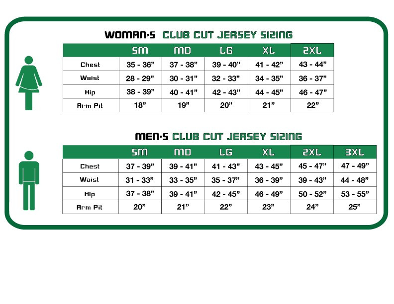Cicycling Jersey Sizing Chart - B